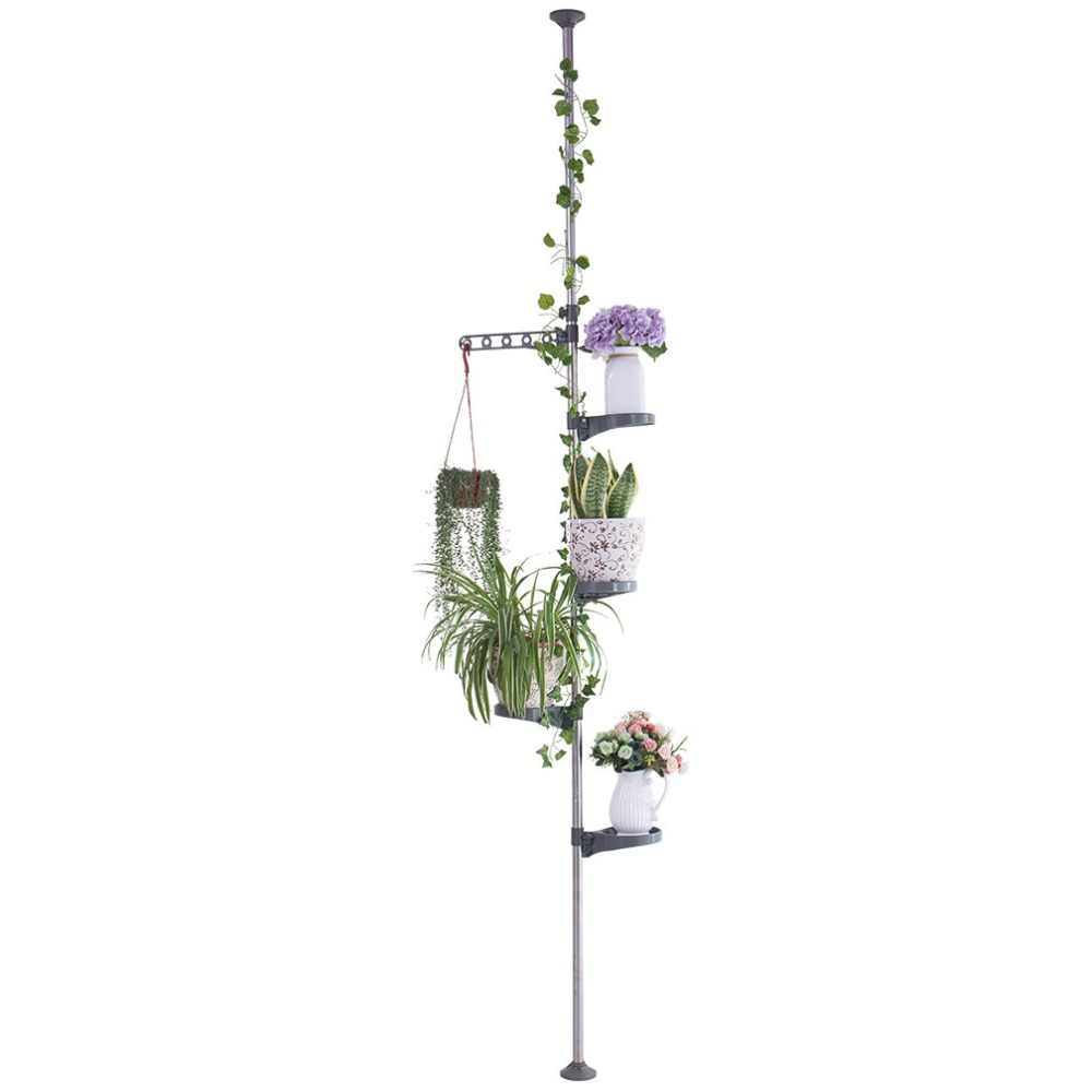 Baoyouni Indoor Plant Flower Herb Display Stand Shelf Tension Pole  Storage Rack Holder Home Garden Storage Shelf DQ1607-P