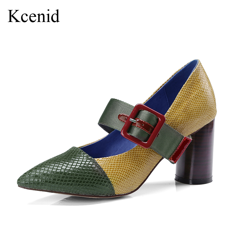 Kcenid Fashion luxury new genuine leather women high heel pumps mixed color buckle strap mary janes pointed toe lady green shoes new spring fashion brand genuine leather sweet classic high heels women pumps shallow thick heel mary janes lady causal shoes