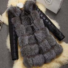 Winter warm imitation fox fur with PU coat Korean version women 's fox fur women' s faux fox fur thicker warm coat J20