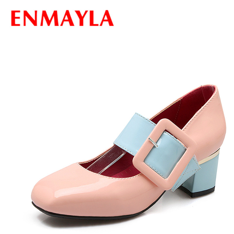ENMAYLA New Mixed Colors Mary Janes Shoes Women Square Toe Pumps Med Heels Sweet Buckle Lolita Shoes Woman Big Size 46
