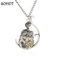 SOHOT Vintage Silver Color Owl Moon Steampunk Gearwheel Pendant Necklace Women Zinc Alloy Animal Crystal Machinery Jewelry Gift