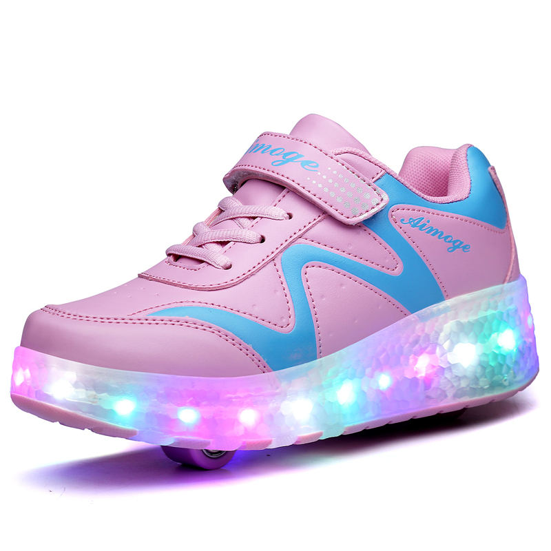 ФОТО Roller Shoes Kids Adults Boys Girls Led Skate Shoes Size 27-43 Single or Double Wheels Light Illuminated Sneakers Children Jazzy