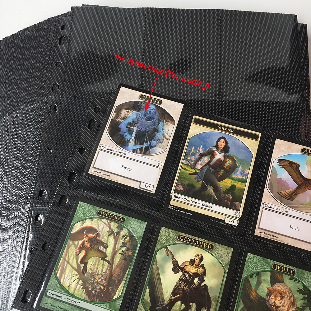 18 Pocket Page 9Pocket Side Top Loading Black Color Card Album Page Binder Protector Mtg TCG Pokemon Yu Gi Oh Card Binder Pages in Board Games from Sports Entertainment