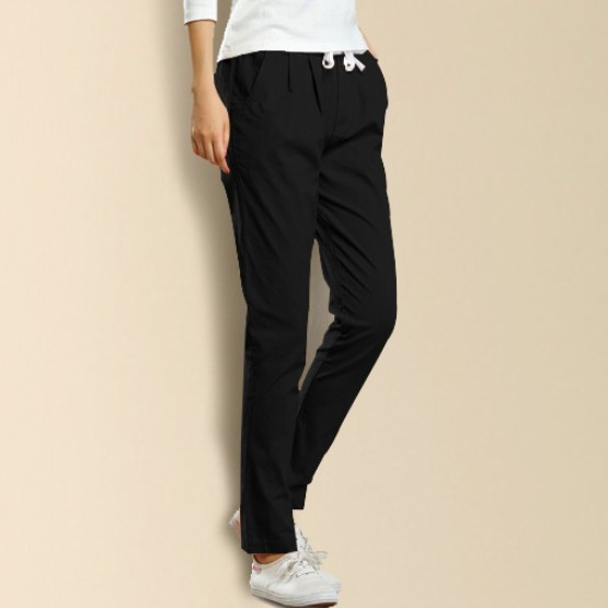 In Summer 2017 Fashion Linen Haren Nine Elastic Waist Pants All-Match Loose Pantalon Candy Colored Women's Casual Pants Trousers