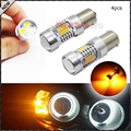 4pcs Amber Yellow Error Free SAMSUNG 2835-SMD BAU15S 7507 PY21W 1156PY LED Bulbs For Car LED Bulbs For Front Turn Signal Lights