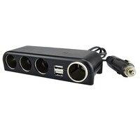 4 Way Car Cigarette Lighter Socket Splitter Charger Power Adapter DC USB 12V 24V Extension Cord