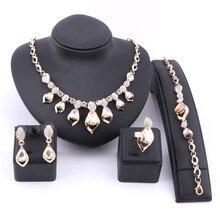 Купить с кэшбэком Women Fashion Wedding Crystal Dubai Indian Bridal Ethiopian Turkish Costume Necklace Bracelet Earring Ring Jewellery Set