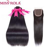 Miss Rola Pre Colored Brazilian Hair Straight 100 Human Hair Weave 1b Nature Black 3 Bundles