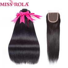 Miss Rola Pre-colored Brazilian Hair Straight 100% Human Hair Weave #1b Nature Black 3 Bundles with Closure Hair Extensions
