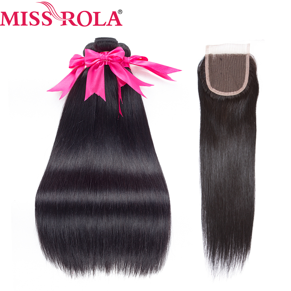 Miss Rola Pre-színezett brazil haj egyenes 100% emberi nem remy haj - Emberi haj (fekete)