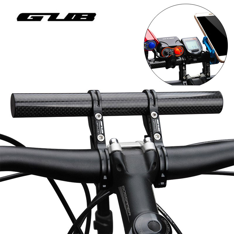GUB Carbon Fiber Bicycle HandleBar Extender Lengthen Mount Lamp CNC Lightweight MTB Road Bike Flashlight Computer Phone Holder
