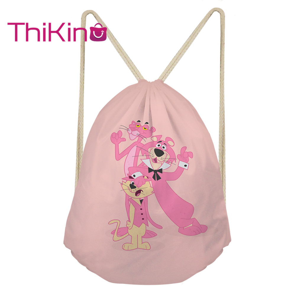 Thikin Pink Panther Casual Sack Drawstring Bag for Girls Travel Backpack Toddler Softback Lady Beach Mochila DrawString Bag(China)