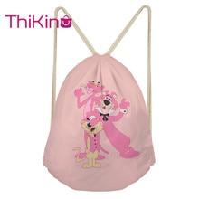 Thikin Pink Panther Casual Sack Drawstring Bag for Girls Travel Backpack Toddler Softback Lady Beach Mochila DrawString Bag
