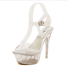 Women Stripper Shoes Sexy 14 CM High Heels Sandals 4.5 CM Platform Jelly Transparent Exotic Party Pumps Buckle