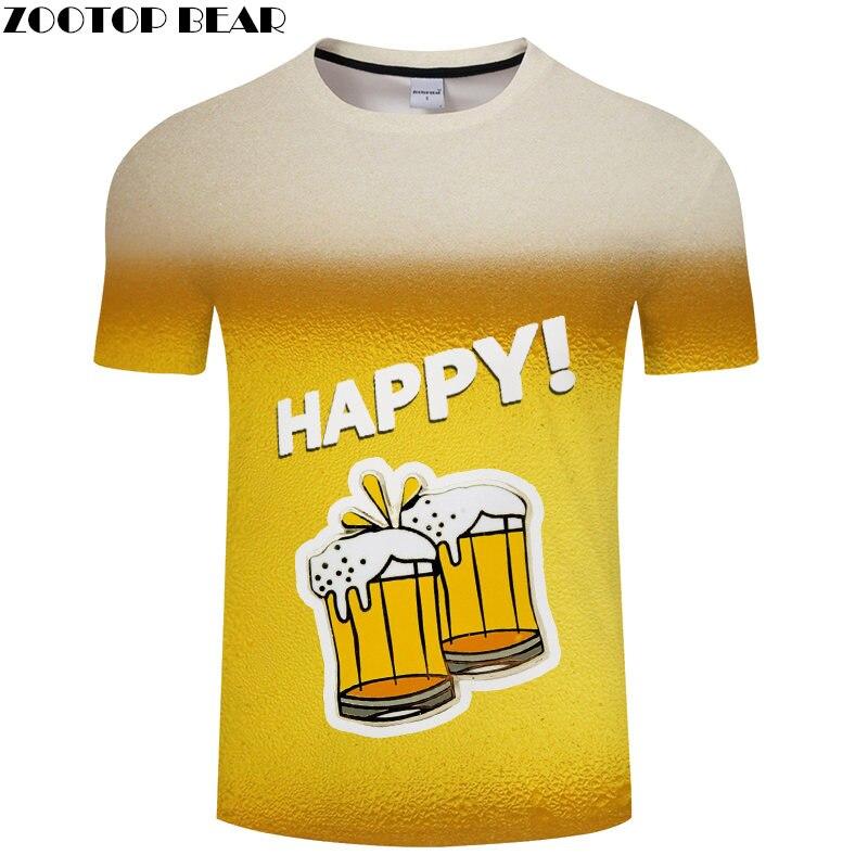 Happy Beer Flower 3D Print t shirt Travel tshirt Summer Men Tee Casual Funny Short Sleeve Shirts Streetwear Dropship ZOOTOPBEAR