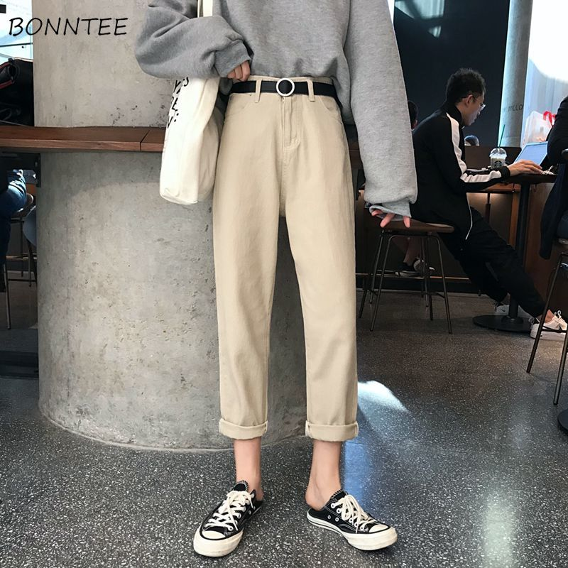 Jeans Women Chic Loose Simple Korean Style Casual Daily Harajuku All-match High Quality Trendy Student Pockets Womens Jean New
