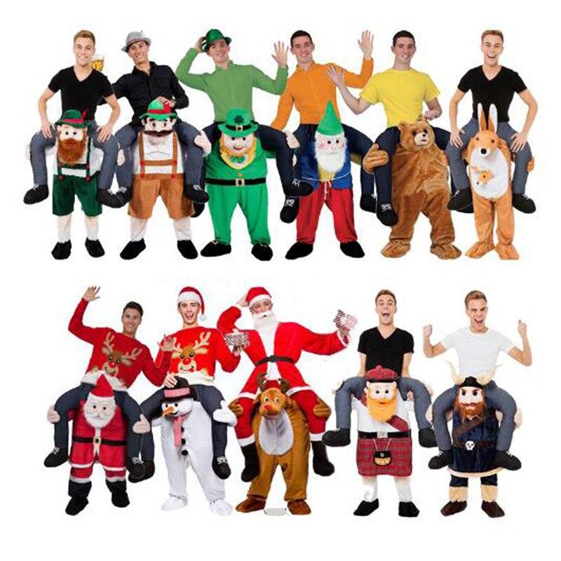 H & ZY Tour Drôle sur Me Mascotte Cosplay Costumes Transporter Dos Drôle Pantalon Robe Up De Noël Santa Claus Bonhomme De Neige halloween Party Jouets