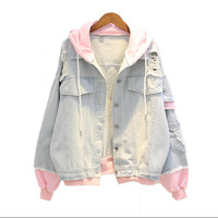 Patchwork Women's Jacket Hooded Denim Female Jacket Holes Jeans Jacket Long Sleeve Feminine Coat Casual Women's Flax Jacket