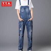 Plus Size Women Wide Leg Loose Ripped Denim Overalls Europe Jumpsuit Boyfriend Hole Pockets Jeans Romper
