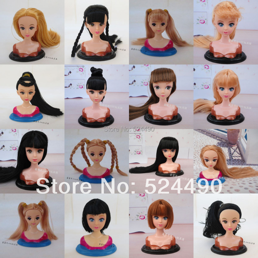 Lots 5 Pcs Mix Styles Doll Head with Colorized Hair DIY Accessories For Barbie Kurhn Jenny