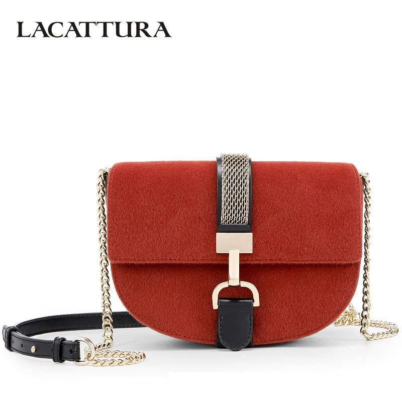 LACATTURA Luxury Handbags Women Crossbody Bags Designer Messenger Saddle Bag Retro Suede Clutch Lady Fashion Small