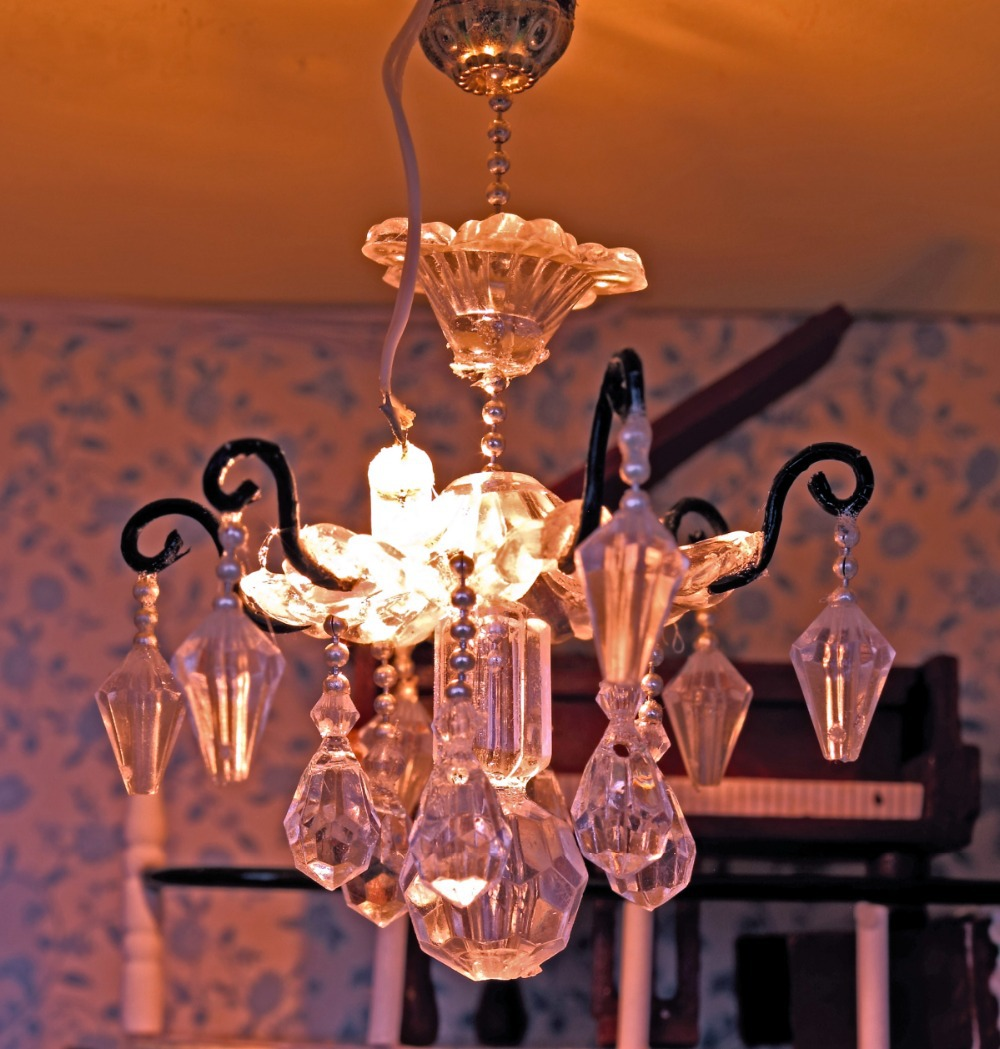 chandelier chandeliers bathroom mirror miniature for lights shades above small houses bedroom doll ornament