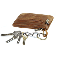 رجل مجنون الحصان الجلود مفتاح محافظ جلد طبيعي أزياء المفاتيح حقيبة الصلبة جلد البقر سستة عملة المحفظة صفر محفظة 40