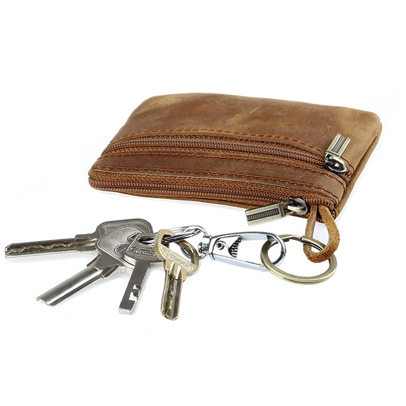 Men Crazy Horse Leather Key Wallets Genuine Leather Fashion Keychain Bag Solid Cow Leather Zipper Coin Wallet Male Zero Purse 40