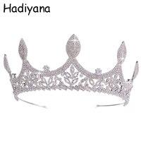 Hadiyana Luxury Cubic Zirconia Leaves Queen Crown Bridal Wedding Hair Accessories Hair Ornaments Diadem for women HG6089