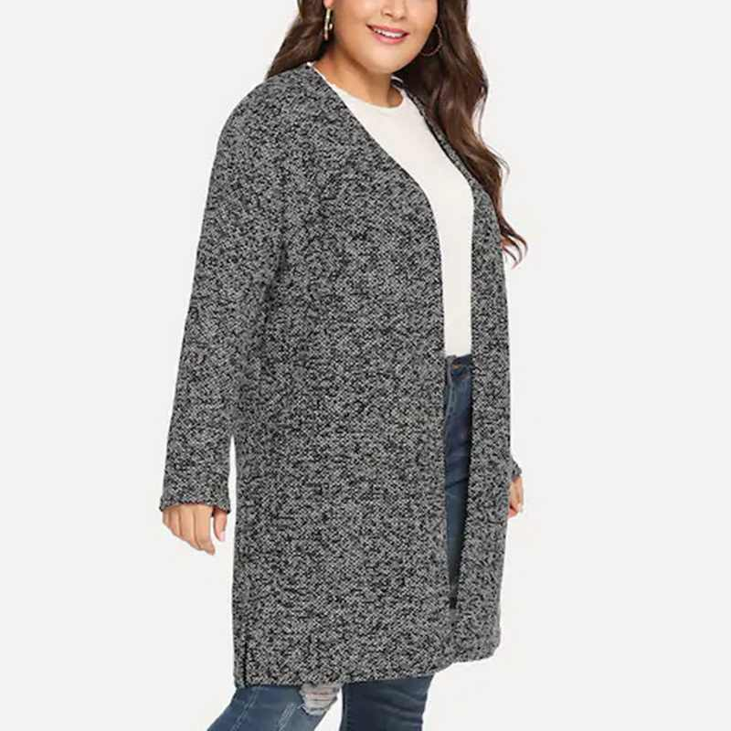 Ladies Oversize Cardigan Gray Plus size Woman Sweaters Coat Knitwear Casaco Feminino Long Casual Autum Winter Loose Knitted Coat
