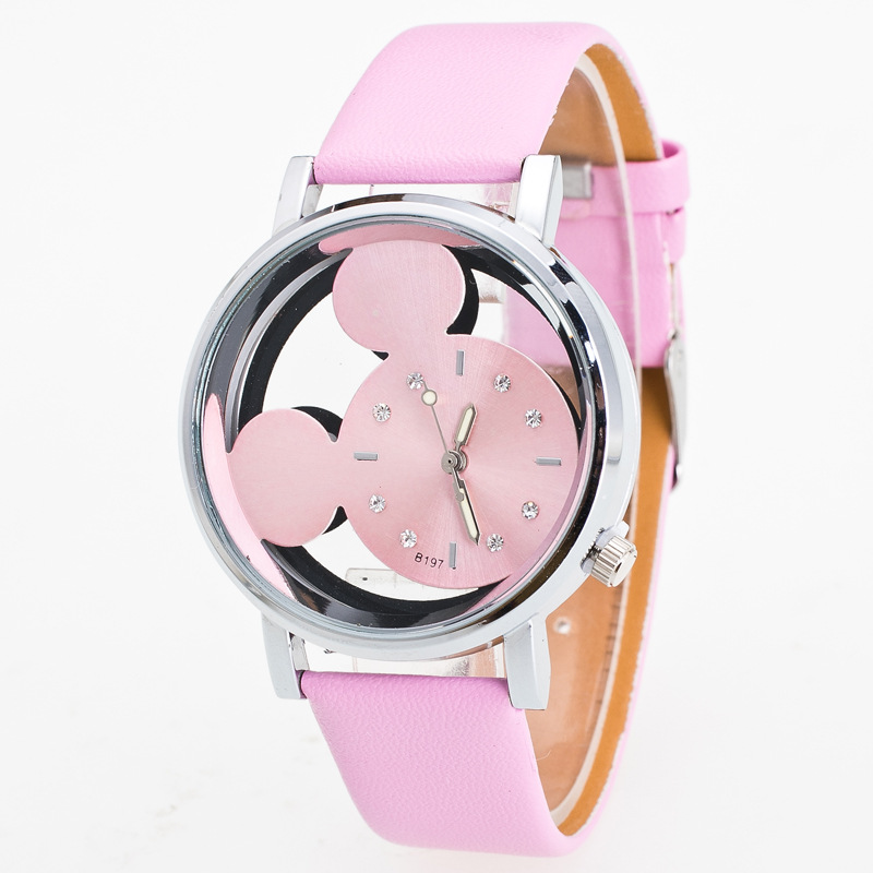 Luxo 2018 Ladies Watch Crystals Clocks Women Luxury Quartz With Leather Mickey Mouse Kad Saatleri New Hot Relogio Feminino Gifts