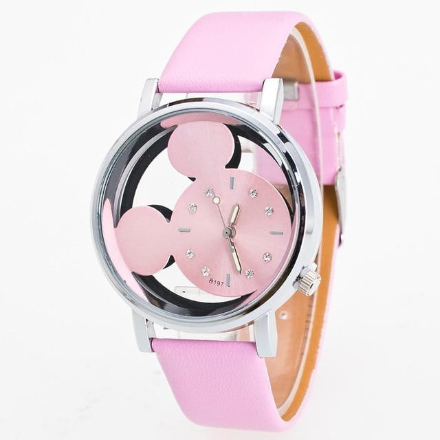 Luxo 2018 Ladies Watch Crystals Clocks Women Luxury Quartz With Leather Mickey M