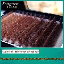 Songnai Прививка ресницы карамельного цвета одиночные плоские ресницы густые норковые супер мягкие двойные накладные ресницы смешанные