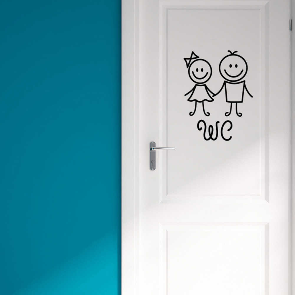 Cartoon Washroom Reusable Bathroom Removable Home Waterproof Cute Decorative Toilet PVC Self Adhesive Girl Boy WC Door Sticker