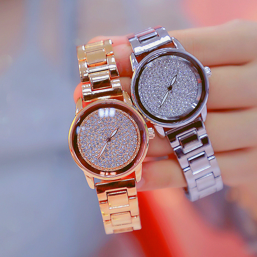 2019 Hot Sale Women Watches Lady Full Diamond Dress Watch Gold Silver Stainless Steel Rhineston Wristwatch Female Crystal Watch