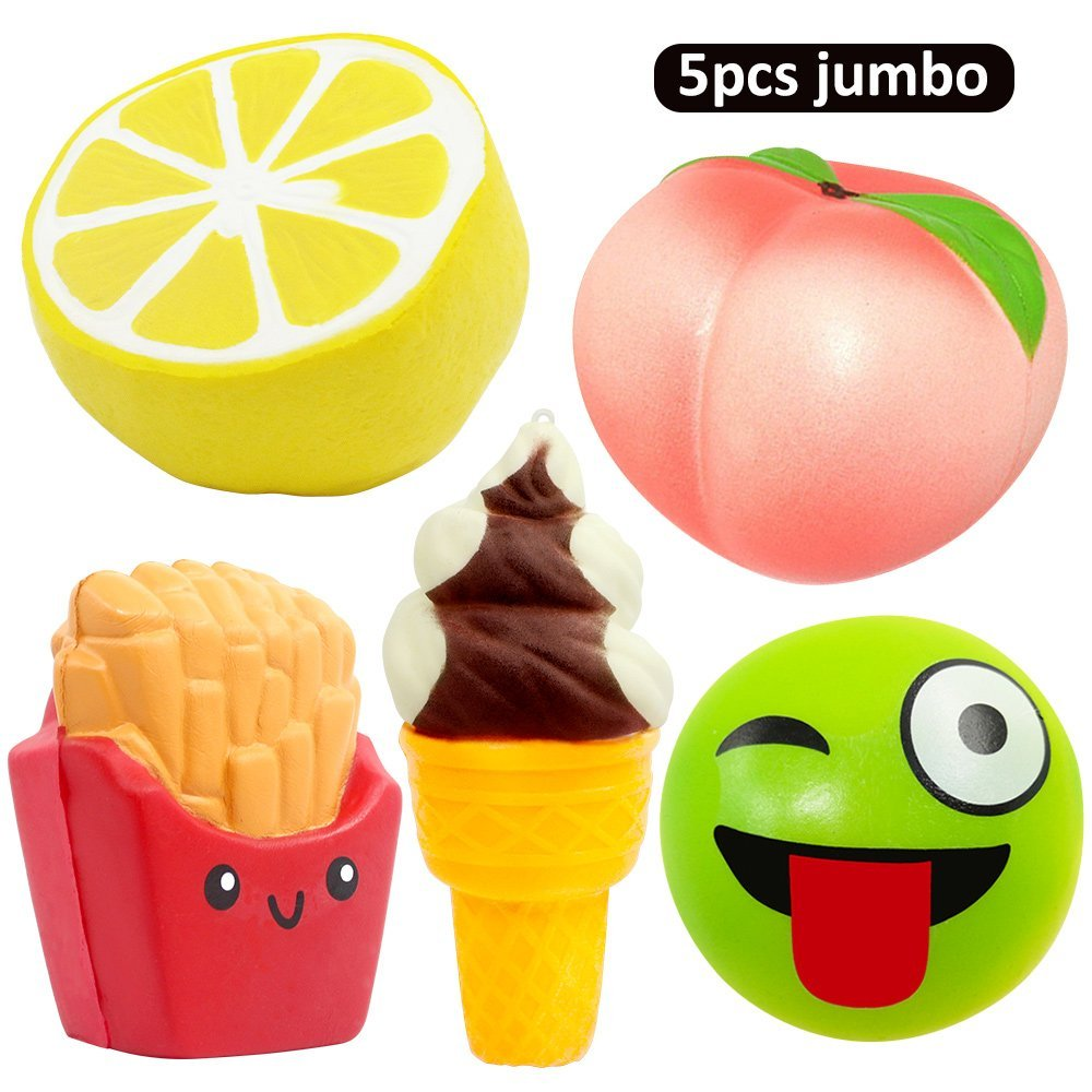 5pcs Jumbo Squishies Peach Lemon Ice Cream Squishies Slow Rising Squeeze Kawaii Squishies Funny Hand Wrist Stress Relief Toys #D