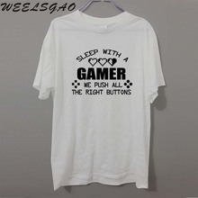 Sleep With A Gamer Geek FUNNY Joke humour PRINTED T-shirt MENS T SHIRT Great gift TShirt Tee Unisex