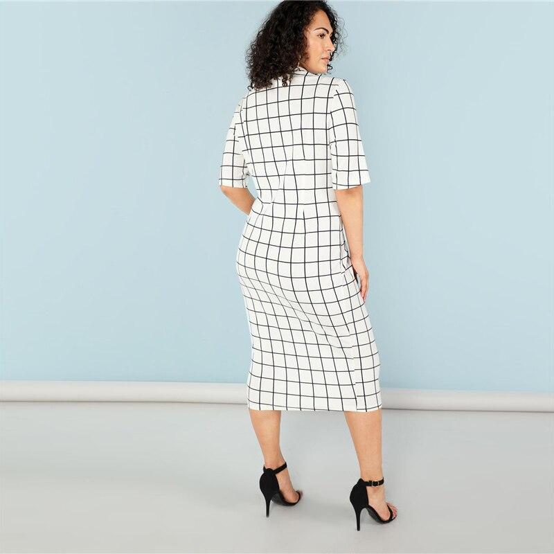 Elegant Plaid Bodycon Plus Size Long Pencil Dresses