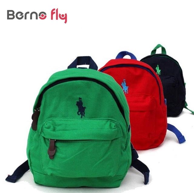 2017 novas crianças polo sacos anti-perdidos crianças mochila de lona de algodão mochila infantil saco mochila de alta qualidade das meninas do menino mochila