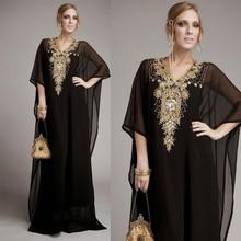 Elegant Black Evening Dresses Half Sleeve Chiffon Arabic Dubai Kaftan Muslim Formal Dresses Gold Beads Rhinestone vestido longo