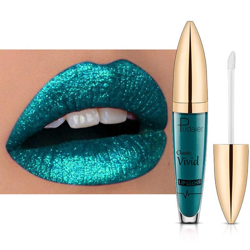 Pudaier diamante glitter lip gloss sparky lucido pigmento 18 colori impermeabile di lunga durata rosso blu nero rossetto liquido gel PD021