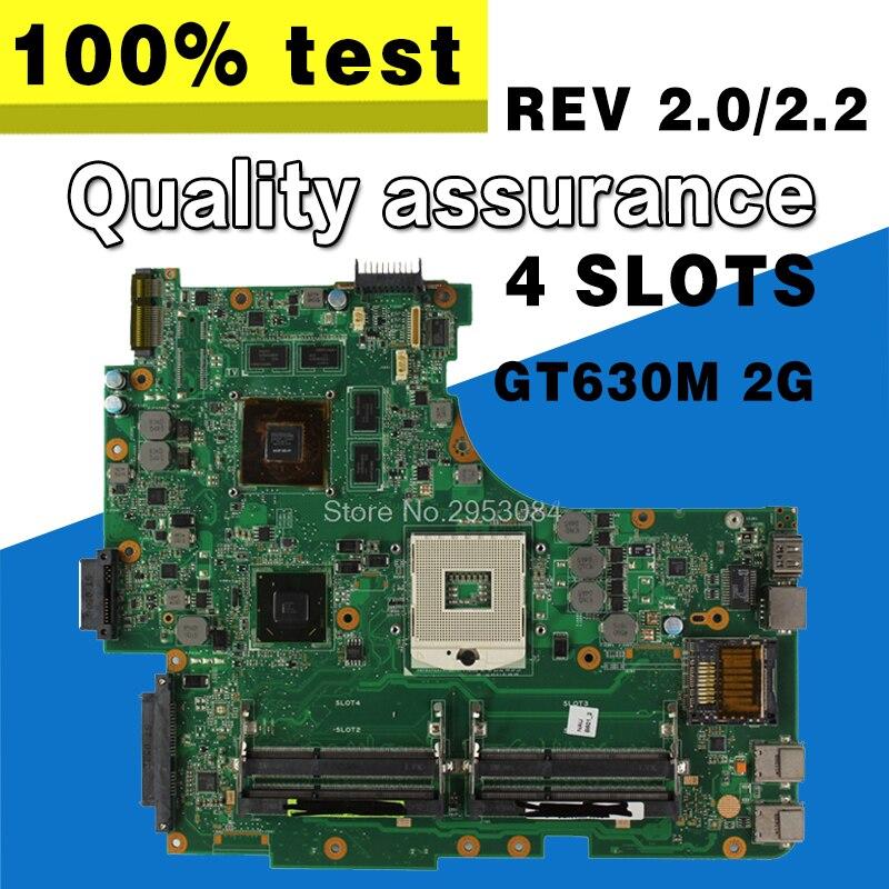 For Asus N53S N53SN N53SV N53SM Rev 2.2 4 slots GT630M 2G USB3.0 2.0 N13P-GL2-A1 HM65 PGA989 laptop motherboard 100% fully test n53sv motherboard rev 2 2 gt540m ram for asus n53s n53sv n53sn n53sm laptop motherboard n53sv mainboard n53sv motherboard 100
