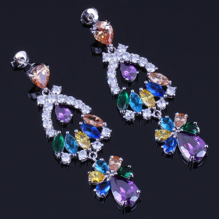 Impressive Huge Multigem Multicolor Brown Cubic Zirconia 925 Sterling Silver Drop Dangle Earrings For Women V0334