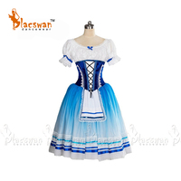 2017 New Peasant Ballet Tutu Costume Blue White Village Girl Professional Ballet Tutu Giselle Romantic Tutus Napoli Tutu Dress