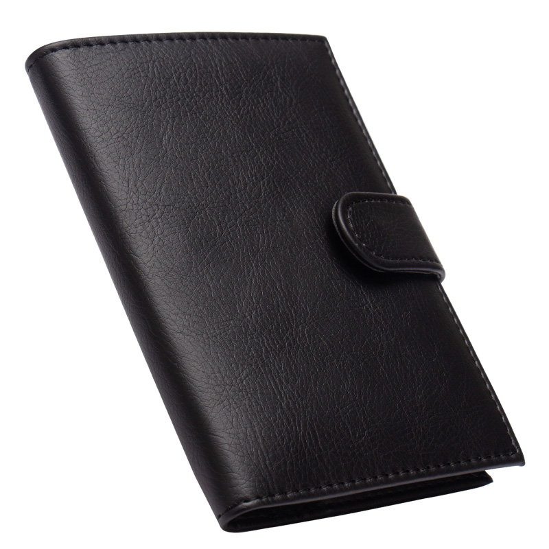 Russian Black Buckle Solid Color Casual Passport Cover Built In Rfid Blocking Protect Personal Information Card & Id Holders