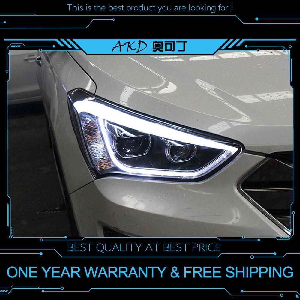 AKD tuning voitures Phare Pour Hyundai ix45 Santa fe Santafe 2013 Phares LED Drl feux Bi-xénon Faisceau brouillard ange yeux