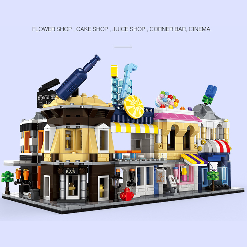 NEW MINI Blocks Street Series Building Blocks Pizzeria Sushi Bar Ice cream Cake Shop Restaurant Bricks Figure Blocks Set Toys