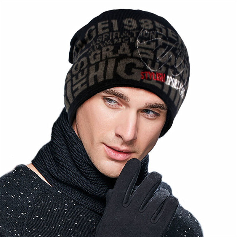 Male Knitted Wool Hat Men's Winter Warm Wool Knitting Cap   Skullies     Beanies   Hats Warm Lining Thicken Wool Cap Adjustable B-9374