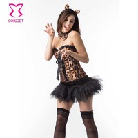 Corzzet Catwoman Cosplay Costume Sexy Leopard Overbust Corset And Black Wedding Dress Burlesque Halloween Clubwear Set
