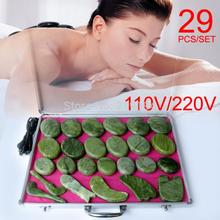 Best selling! 29pcs/set body Massage stones massage stone set hot jade plate with heater box